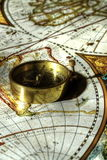 Compass on old map A Stock Photography