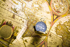 Compass on the old map Stock Images