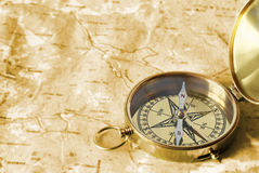 Compass on old map Royalty Free Stock Images