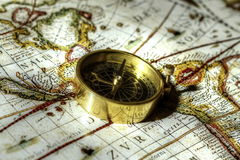 Compass on old map C Stock Photo