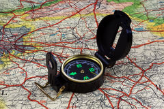 Compass on old map Royalty Free Stock Photography
