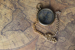 Compass on old map Royalty Free Stock Photos