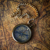Compass on old map Stock Photos