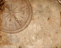 Compass on the old paper Royalty Free Stock Image
