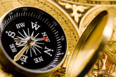 Compass on the old paper Royalty Free Stock Photos