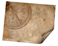 Compass on the old paper Stock Photography