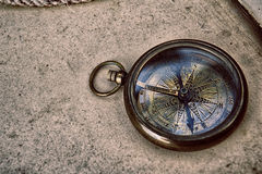 Compass on old paper Royalty Free Stock Photography