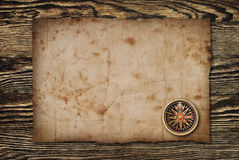 Compass on the old paper background.  Royalty Free Stock Photo