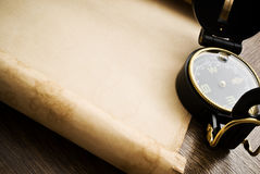 Compass on the old paper background.  Royalty Free Stock Photography