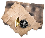 Compass and old papers Royalty Free Stock Photo