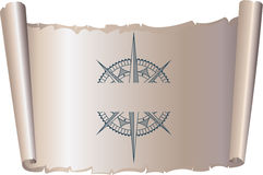 Compass on old parchment scroll Royalty Free Stock Photos