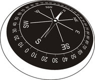 Compass in old style (black). A compass (or mariner compass) is a navigational instrument for finding directions on the Earth. It consists of a magnetized vector illustration