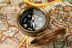 Compass & old world map Stock Images