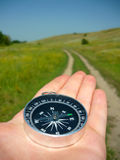 Compass On A Handbeadth Stock Images