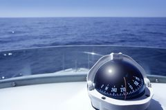 Compass On A Yacht Boat Tower Stock Photos