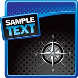Compass On Blue And Black Halftone Banner Stock Photos