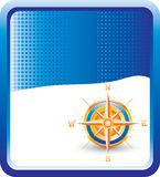 Compass On Blue Halftone Background Stock Photography