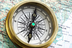 Compass On Map Royalty Free Stock Image