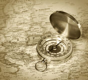 Compass On Map Of Europe Stock Images