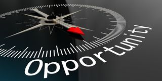 Compass with opportunity word. In dark background. 3D rendering Royalty Free Stock Photo