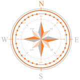 Compass orange color. An orange compass with north east south and west directions Royalty Free Stock Images
