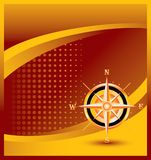 Compass on orange halftone banner template stock illustration