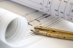 Compass over blueprints Royalty Free Stock Photography