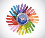 Compass over diversity hands circle Stock Photo
