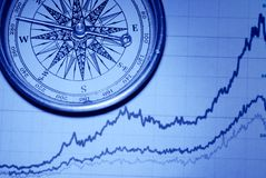 Compass over financial graph Royalty Free Stock Photo