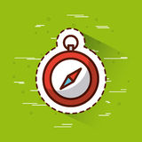 Compass over green background icon image Royalty Free Stock Image