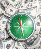 Compass over hundred dollars. Financial concept. Royalty Free Stock Image