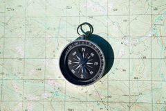 Compass over map Stock Photo