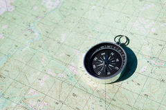 Compass over map Royalty Free Stock Images