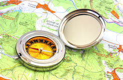 Compass over the map Royalty Free Stock Photos