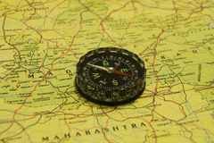 Compass over Map Royalty Free Stock Photography