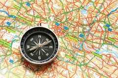 Compass over the map of UK Royalty Free Stock Photos