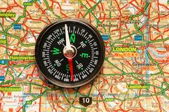 Compass over the map of UK. London suburbs Stock Photography