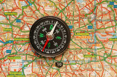 Compass over the map of UK Royalty Free Stock Photography
