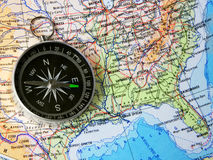 Compass over map of USA Stock Image