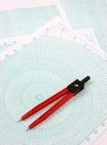Compass over polar paper Stock Photo