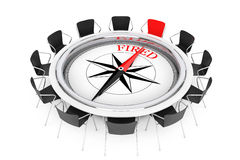 Compass over Round Table show to Fired Person Chair. 3d Renderin. Compass over Round Table show to Fired Person Chair on a white background. 3d Rendering Stock Photos