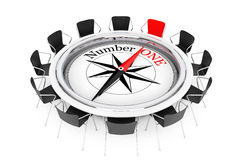 Compass over Round Table show to Number One Person Chair. 3d Ren Stock Photos