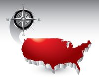 Compass over united states icon Stock Image
