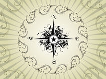 Compass panel with floral circle in grey, illustra Stock Photos