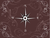 Compass panel in floral frame, illustration Stock Photo