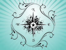 Compass panel on green floral background Royalty Free Stock Image