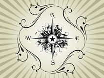 Compass panel on grey floral frame Stock Photos