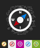 Compass paper sticker with hand drawn elements Stock Image
