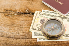 Compass, passport and money. Stock Images