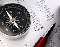 Compass and pen Royalty Free Stock Photography